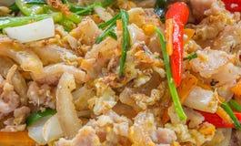 Macarronetes frescos salteado da arroz-farinha com galinha e ovo Fotografia de Stock