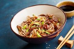 Macarronetes japoneses picantes do soba com carne Fotos de Stock Royalty Free