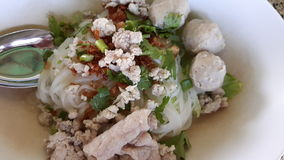 Macarronetes tailandeses com bola da carne de porco Fotos de Stock Royalty Free