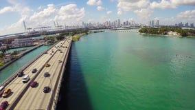 Macarthur桥梁迈阿密海滩 股票视频