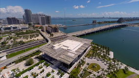 Macarthur Bridge Miami aerial drone video stock video footage