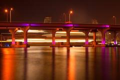 MacArthur Causeway Bridge at night Stock Photos