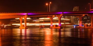 MacArthur Causeway Bridge at night Stock Photo