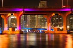 MacArthur Causeway Bridge at night Stock Photography