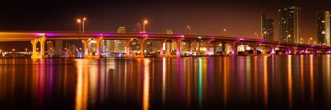 MacArthur Causeway Bridge at night Royalty Free Stock Images