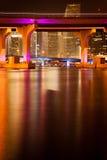MacArthur Causeway Bridge at night Royalty Free Stock Image