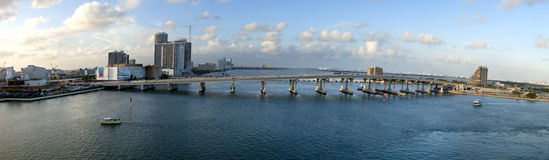 MacArthur Causeway Bridge (panoramic) Stock Photos