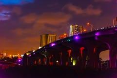 MacArthur causeway on a cloudy night. Miami, USA stock photos