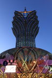 Macau: Грандиозная гостиница Lisboa на голубом часе Стоковая Фотография RF