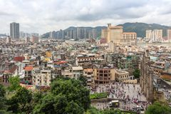 View of Macau city and Ruins of St Paul`s from Mount fortress royalty free stock images