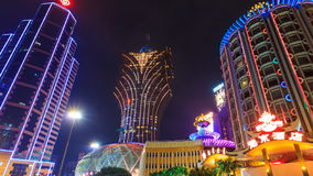 Macau Casino Night Cityscape Time Lapse (zoom out) stock video footage