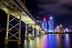 Macau casino at night Royalty Free Stock Photos