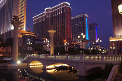 Macau casino resorts by night Royalty Free Stock Images