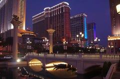 Macau casino resorts by night Royalty Free Stock Images
