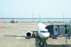 Airline plane parking in Macau International Airport Stock Photography