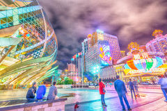 MACAU, CHINA - APRIL 2014: City skyline with casinos lights at n Royalty Free Stock Photography