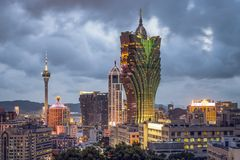 Macau, China. City skyline with high casino resorts Stock Image