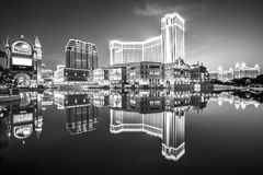 The Venetian Casino. Macau, China - December 8, 2016: iconic The Venetian Macao reflecting on the lake, the largest casino in the world and the largest single Stock Image