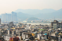 MACAU, CHINA - February 9, 2015: Exterior of the downtown Macau Royalty Free Stock Photos