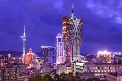 Macau, China. Hotels and skyline Stock Images