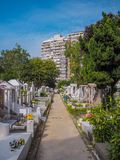 MACAU,CHINA - NOVEMBER 2018: The Saint Michael`s chapel and cemetery with graves of Catholic Macau Portuguese and Chinese stock photography