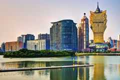 Macau, China. Resorts and casinos at Nam Van Lake in Macau S.A.R, China Royalty Free Stock Image