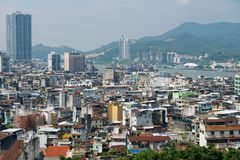 Urban skyline of the city seen from the Monte Forte in Macau, China. Stock Photography