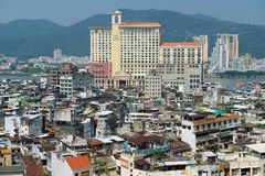 Urban skyline of the city seen from the Monte Forte in Macau, China. Royalty Free Stock Photos