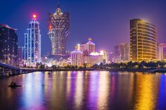 Macau, China. Skyline at the high rise casino resorts Royalty Free Stock Photos