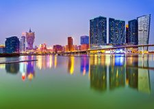 Macau, China. Skyline at the high rise casino resorts Royalty Free Stock Image