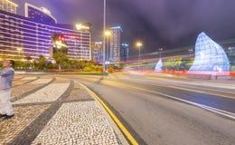 MACAU CHINY, KWIECIEŃ, - 2014: Miast kasyna przy nocą i ulicy Ma Zdjęcie Stock