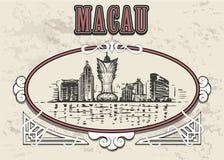 The Macau city hand drawn sketch. royalty free illustration