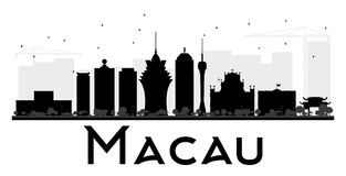Macau City skyline black and white silhouette. Stock Photography