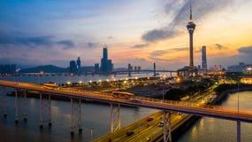 Macau city skyline at sunset with Macau Tower in twilight, Aerial view, Macau, China.  stock images