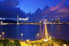 Macau cityscape along the coast at night Royalty Free Stock Image
