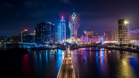 Free Macau Cityscape At Night, All Hotel And Tower Are Colorful Lighten Up With Blue Sky, Macau, China Royalty Free Stock Images - 136755049