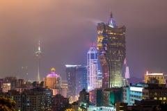 Macau cityscape night Stock Photos