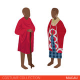 Macau couple flat 3d isometric costume collection Royalty Free Stock Photography