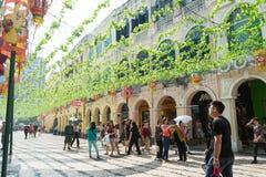 MACAU - 16 de outubro de 2015: Centro histórico do quadrado de Macau-Senado em Macau imagem de stock royalty free