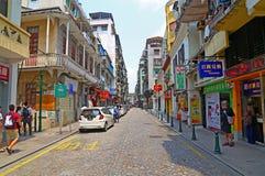 Macau do centro: o calcada faz a rua do amparo imagem de stock