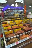 Macau dry meat food stores cart. Macau dry meat food stores selling cart Royalty Free Stock Images