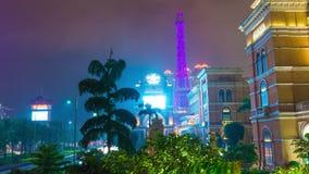 Macau famous hotel eiffel tower night panorama 4k time lapse china stock video
