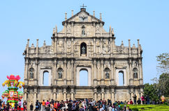 MACAU-Feb 9 : Tourists visit the Historic Center of Macao on Feb Stock Photography
