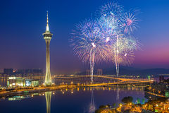 Macau Fireworks China. Macau Tower with Fireworks in China royalty free stock images