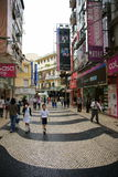Macau historic pedestrian zone. Macau peninsula historic pedestrian zone containing many of unesco world heritage sites. shopping area near by st. dominic's Stock Image
