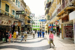 Macau historic pedestrian zone. Macau peninsula historic pedestrian zone containing many of unesco world heritage sites. shopping area near by st. dominic's Royalty Free Stock Images