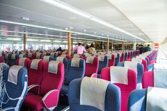 Macau - January 15, 2018 :Inside of speedboat from Hong Kong to Stock Photography