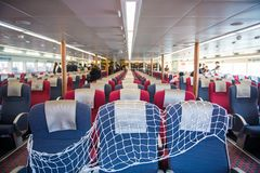 Macau - January 15, 2018 :Inside of speedboat from Hong Kong to Stock Image