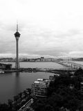 Macau landscape. Macau in black and white; Macau Tower and Sai Van Bridge Stock Image