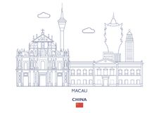 Macau City Skyline, China Royalty Free Stock Images